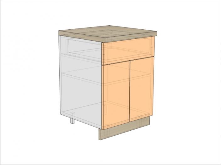 Тумба кухонная ТБК-820-600-1Я-2ДГ (РАДУГА)