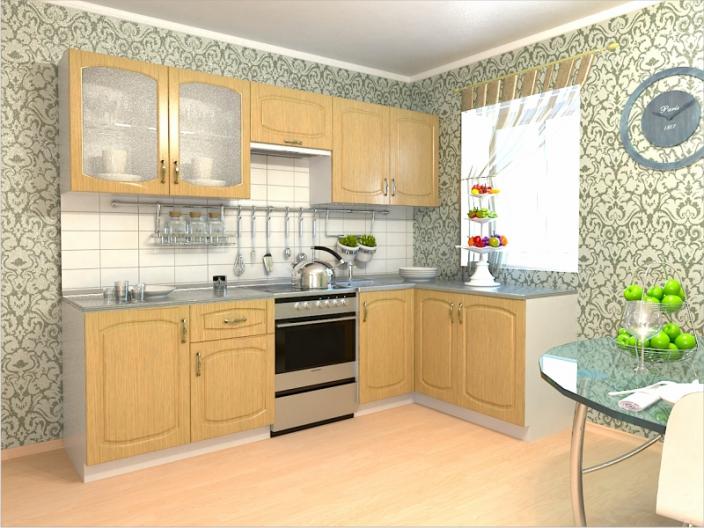 Кухонный гарнитур РАДУГА-2500/1500 (Фасад МДФ филенка Ф4, 4 расцветки)