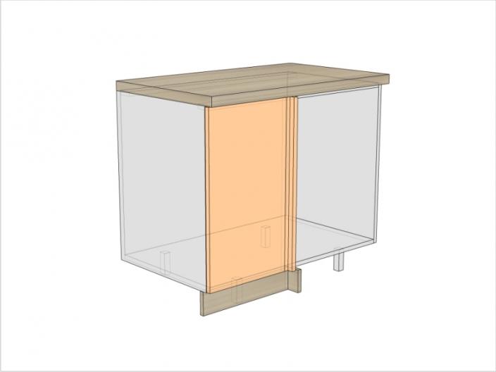 Тумба кухонная угловая ТБКУ-820-1000-1ДГ-левая (РАДУГА)