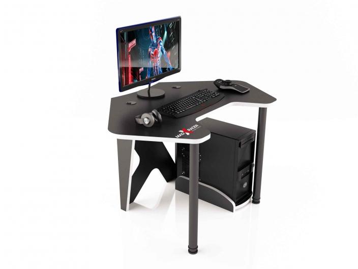Угловой игровой компьютерный стол MaDXRacer PILOT GTC12/BW
