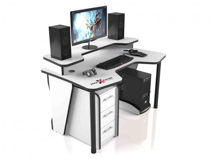 Геймерский компьютерный стол MaDXRacer COMFORT GT14N/WHITE-B