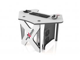 Угловой игровой компьютерный стол MaDXRacer PILOT GTC12/WHITE-B