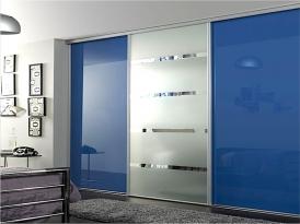 Шкаф-купе встроенный ШКВ-02 (двери со вставками стекло цветное и зеркало)