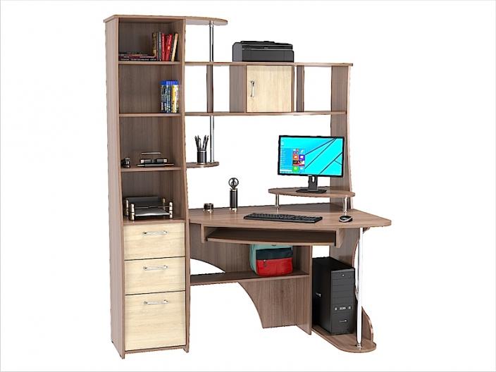 Стол компьютерный угловой КС-31С (комплект-01) 1500х900х1968мм